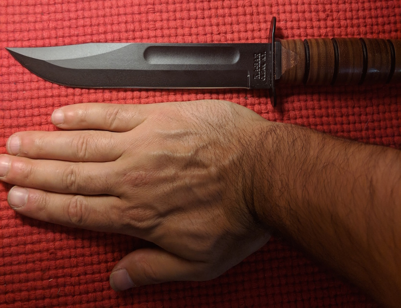 ka bar with sizing next to hand