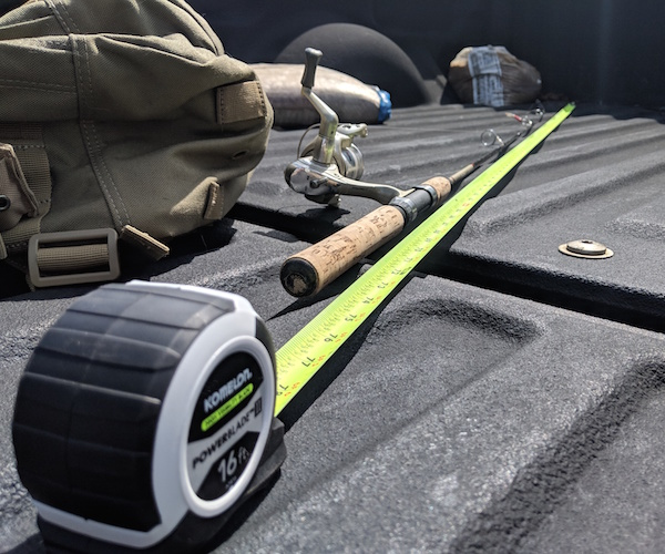 my edc tape measure truck bed and fishing rod