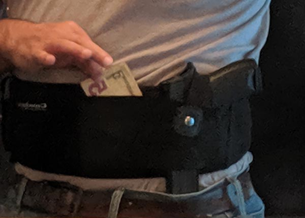how much cash to carry: belly band concealment pocket