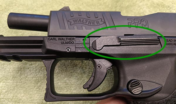 Step 2: Release PPQ M2 Ambidextrous Slide Stop Lever
