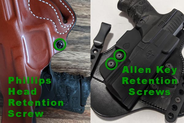 different types of retention screws to get holster to fit gun