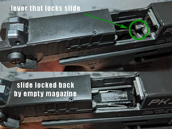 how to get slide to lock back on Walther PK380