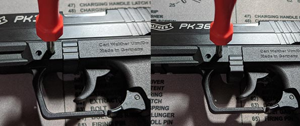 Walther PK380 takedown clip up and down position
