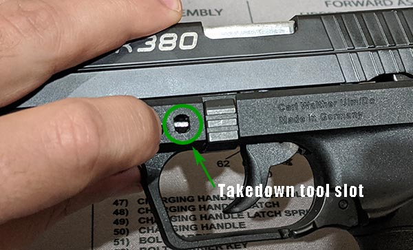slot to insert disassembly tool