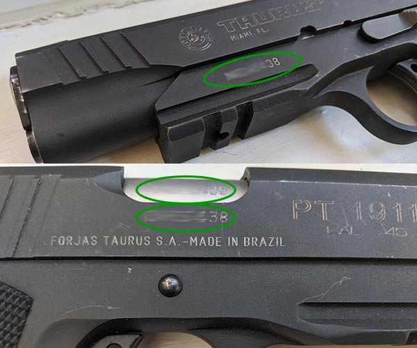 inspecting a new gun serial number location