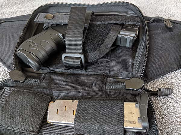 best concealed carry fanny pack with compact PK380 holstered