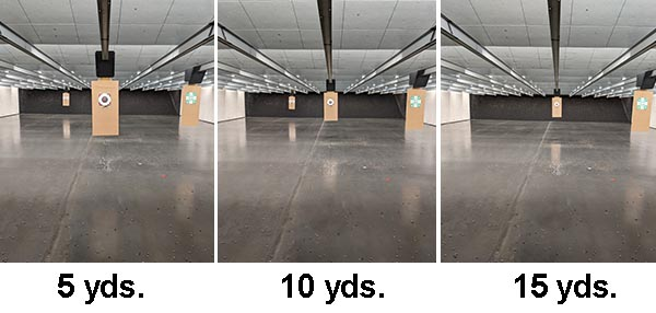bullseye target appearance at various shooting qualification distances