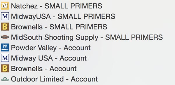 bookmarked accounts and pages for finding reloading supplies like primers