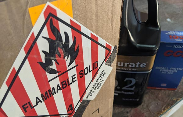 hazmat label - increases cost of reloading 9mm rounds