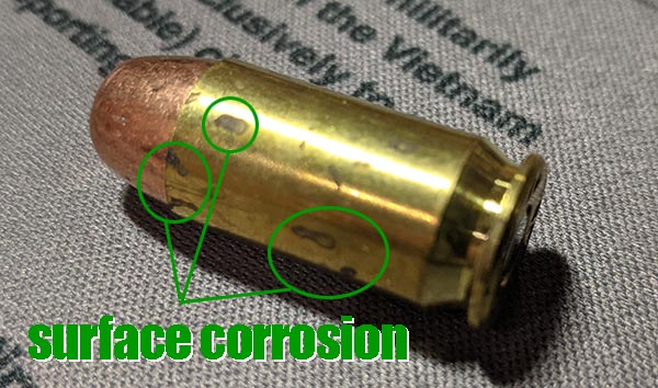 surface corrosion on ammo touched with hands