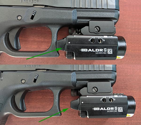 OLIGHT Baldr S Flashlight and Laser Review: Position of light relative to trigger guard