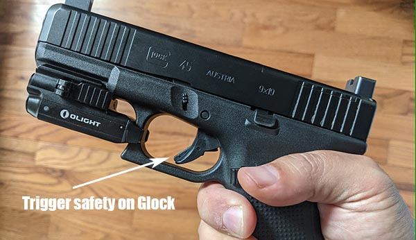 where is the trigger safety on a Glock handgun