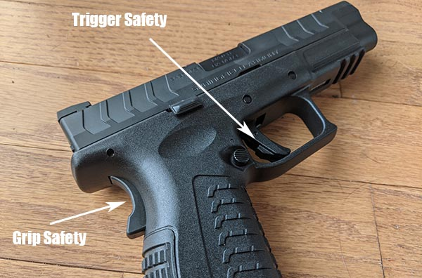 location of grip safety and back of trigger safety for XDM pistol
