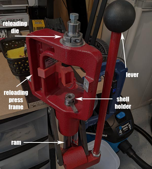 hornady single stage reloading press labeled