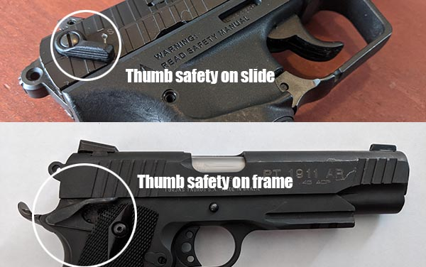 where is the thumb safety on a handgun - frame and slide locations